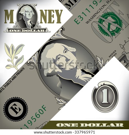 Miscellaneous one dollar bill elements - stock photo