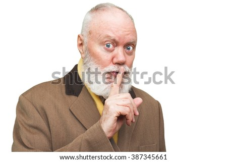 Mischievous elderly man - senior is posing on white background, color and contrast manipulated - stock photo