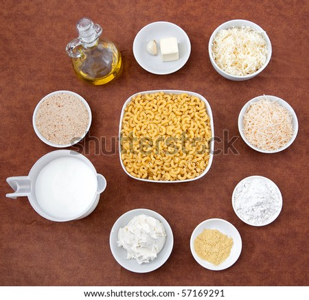 mise en place layout of ingredients for homemade macaroni and cheese