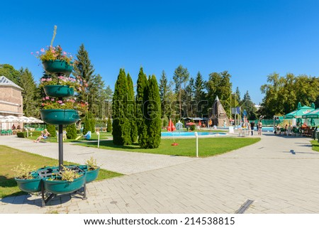MISKOLC, HUNGARY - AUG 29, 2014: Barlangfurdo, a thermal bath complex in a natural cave in Miskolctapolca, which is part of the city of Miskolc, Hungary