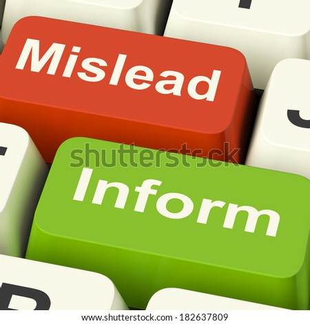 Mislead Inform Keys Showing Misleading Or Informative Advice