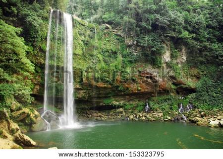 Misol-Ha waterfall, Chiapas, Mexico - stock photo