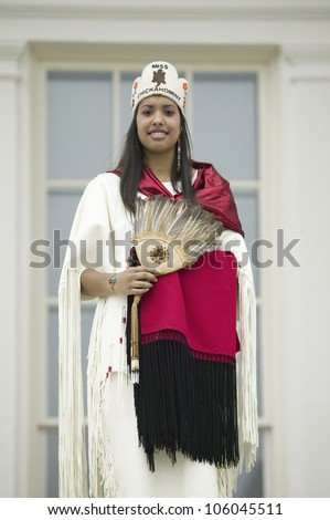 Miss Chickahomny American Indian and descendant of Powhatan Indian Tribe posing in front of State Capitol in Richmond Virginia during 400th Anniversary of Jamestown Settlement, May 3, 2007 - stock photo
