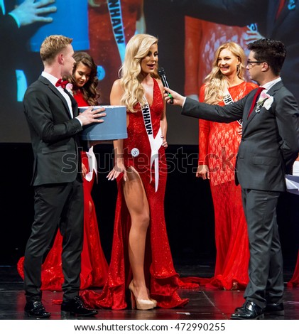 Miss Universe Denmark 2016, on stage interview at the Face of Denmark competition, May 14th 2016 at Amager Bio, Copenhagen