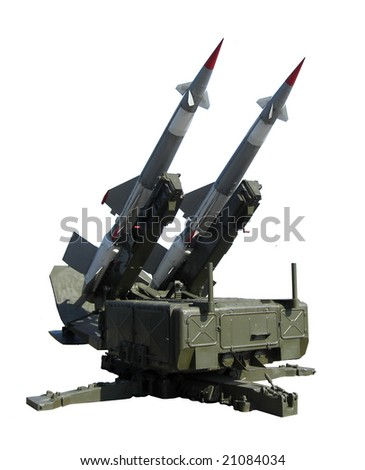 Missile launcher isolated on white - stock photo
