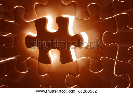 Missing Jigsaw puzzle in red color jigsaw. Business concept for completing team with key person - stock photo
