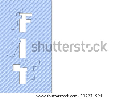 Missing jigsaw puzzle piece of the word fit on white background, business concept for solutions - stock photo