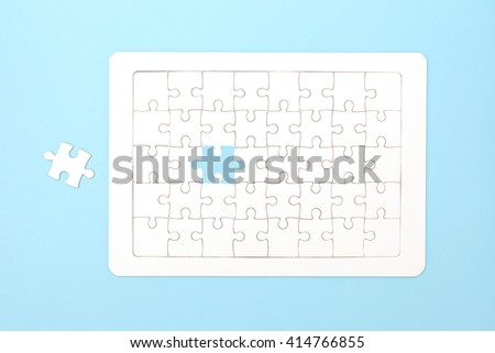 Missing jigsaw puzzle pieces. Business concept. Compliting final puzzle task - stock photo
