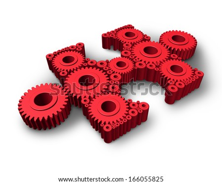 Missing piece business and industry concept with an independent red jigsaw puzzle part made of gears and cog wheels connected as a symbol of technology solutions and expertise in solving problems. - stock photo