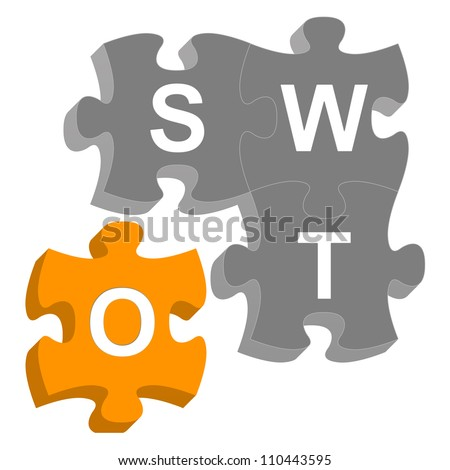Missing Piece 3D SWOT Puzzle For Business Concept Isolated on White Background - stock photo