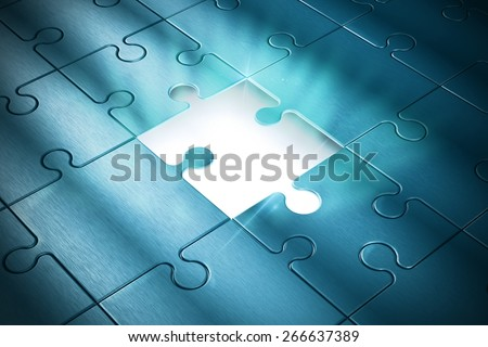 Missing piece of the puzzle of success - stock photo