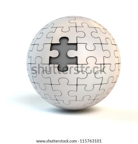 missing piece on spherical jigsaw - puzzle 3d concept - stock photo