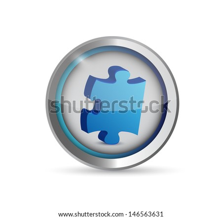 missing puzzle piece button. illustration design over white - stock photo