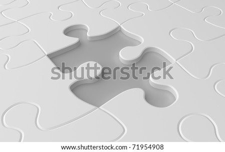 Missing puzzle piece concept in white colors - stock photo
