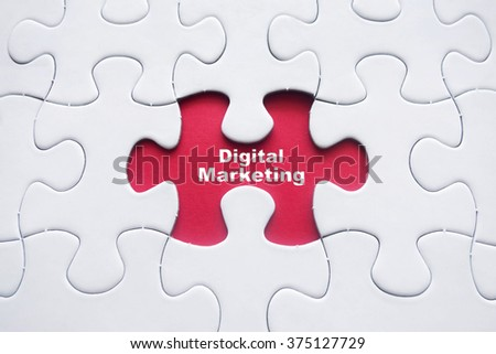 Missing puzzle with Digital Marketing word - stock photo