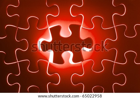 Missing red jigsaw puzzle piece, business concept for completing the final puzzle piece - stock photo