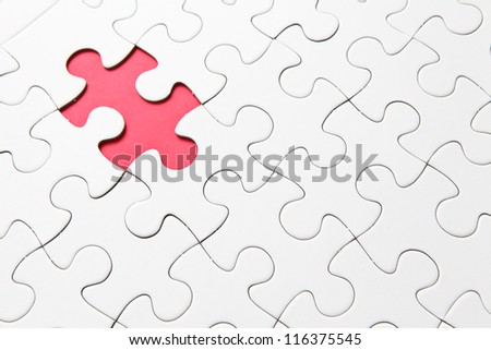 missing red puzzle piece - stock photo