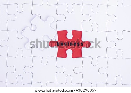 Missing white puzzle with Business word and copyspace area. - stock photo