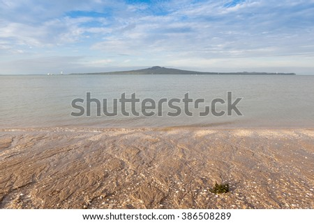 Mission bay view with Rangitoto island background, Auckland, New Zealand. - stock photo