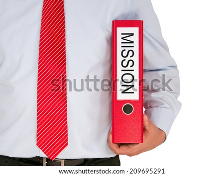 Mission - Businessman with red binder on white background - stock photo
