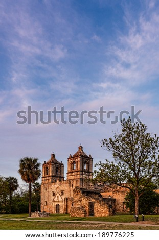 Mission Concepcion at Sunset, San Antonio Texas - stock photo