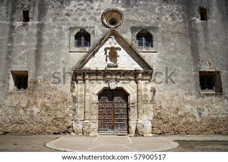 Mission Concepcion Facade, San Antonio Missions National Historical Park - stock photo