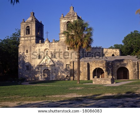 Mission Conception, part of the San Antonio Missions National Historical Park, in San Antonio, Texas. - stock photo