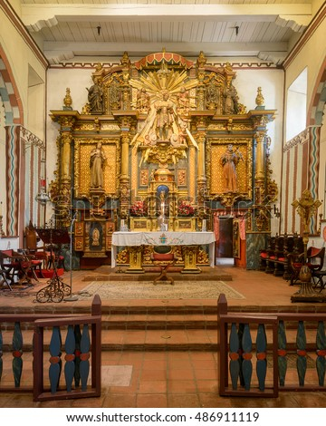 Mission Hills, California - AUGUST 2: Sanctuary and altar inside the church at Mission San Fernando Rey de Espana on San Fernando Mission Blvd on August 2, 2016 in Mission Hills, California