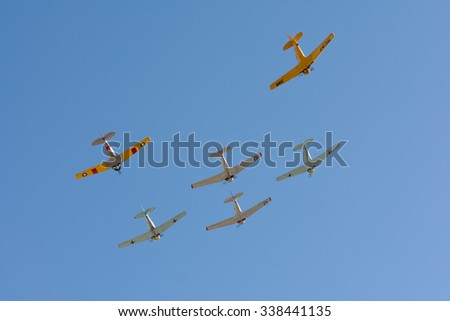 Mission Hills, USA - November 11, 2015: World War II military planes fly during The San Fernando Valley Veterans Day Parade