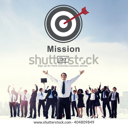 Mission Objective Goals Target Vision Strategy Concept - stock photo