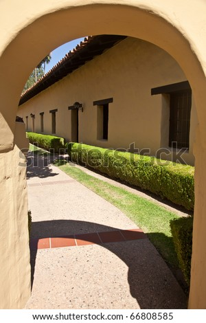 Mission San Fernando Rey de Espa?a is located on the former Encino Rancho in the Mission Hills community of northern Los Angeles, near the site of the first gold discovery in Alta California. - stock photo