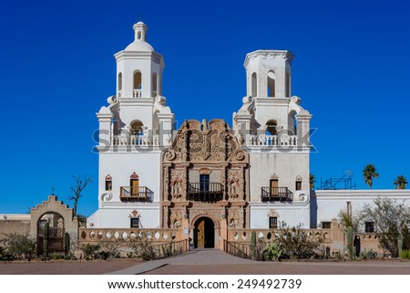 Mission San Javier del Bac in Tucson, AZ, USA - stock photo