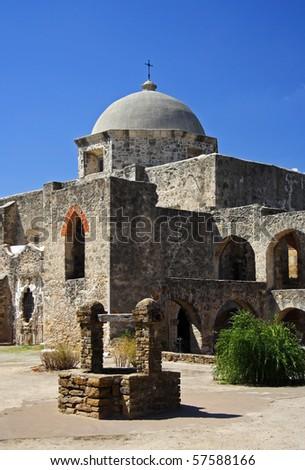 Mission San José y San Miguel de Aguayo, San Antonio, Texas - stock photo