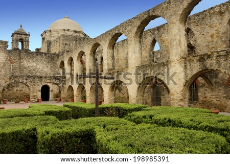 Mission San Jose in the San juan Mission National Park, Texas - stock photo