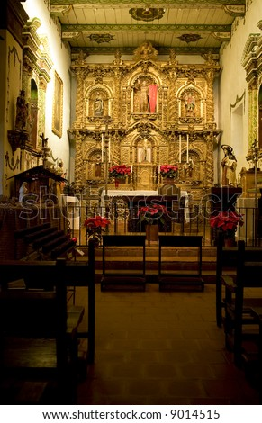 Mission San Juan Capistrano Church Alter at Christmas