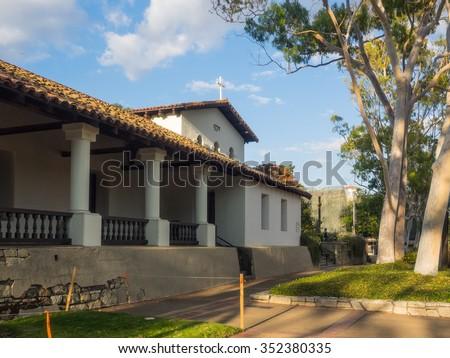 Mission San Luis Obispo de Tolosa is a Spanish mission founded in 1772 by Father Jun�pero Serra in the present-day city of San Luis Obispo, California. - stock photo