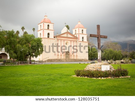 Mission Santa Barbara in California exterior on stormy day with clouds