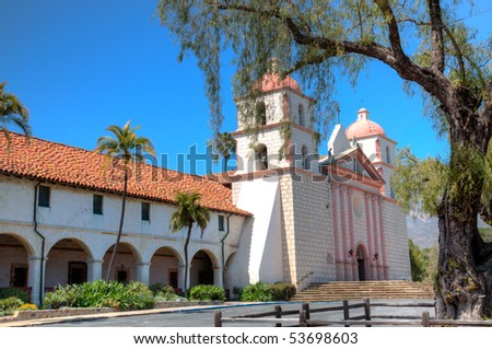 Mission Santa Barbara was the tenth of the California missions to be founded by the Spanish Franciscans. It was established on the Feast of St. Barbara, Dec 4, 1786. - stock photo