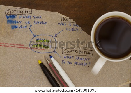 Mission statement sketch on a napkin abstract. - stock photo