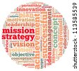 mission strategy info-text graphics and arrangement concept on white background (word cloud) - stock photo
