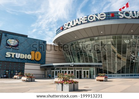 MISSISSAUGA, CANADA - JUNE 6 2014: The entrance to the Square One Shopping Center located in Mississauga, Ontario, Canada. The 3rd largest mall in Canada.