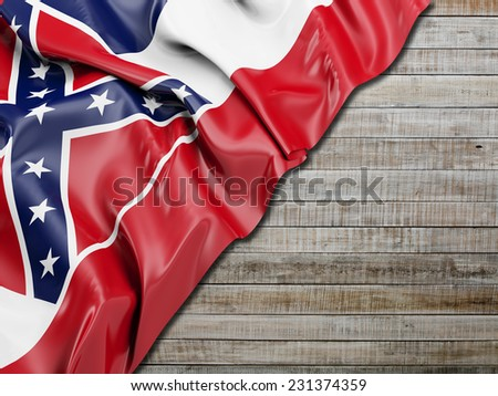 Mississippi Flag with horizontal wood - stock photo