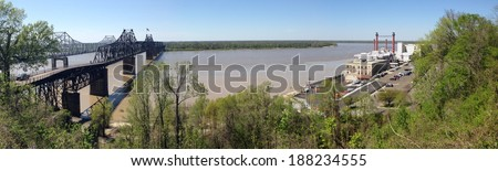 Mississippi River and bridges in Vicksburg, Mississippi - stock photo