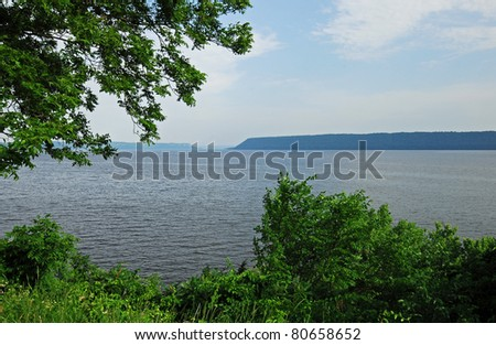 Mississippi River at its widest spot, Lake Pepin, on border of Minnesota-Wisconsin - stock photo