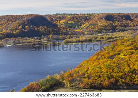 Mississippi River Autumn Scenic - stock photo