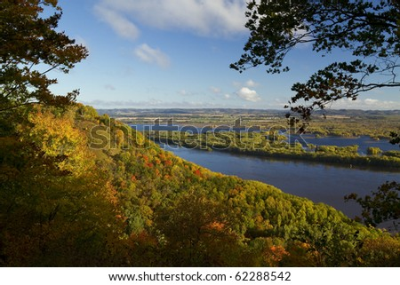 Mississippi River Autumn Vista - stock photo