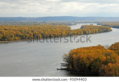 Mississippi River bordering Wisconsin and Iowa - stock photo