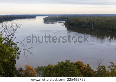 Mississippi River from Riverview Park, Hannibal, Missouri - stock photo