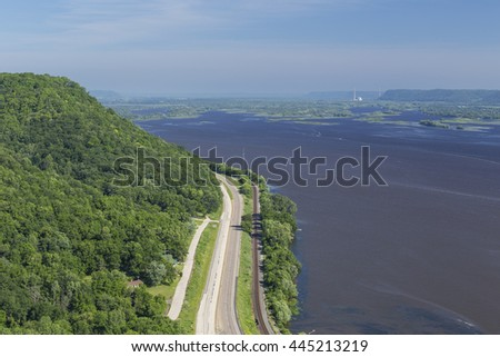 Mississippi River Scenic View - stock photo