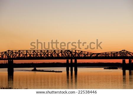 Mississippi river under old bridge in Memphis, TN - stock photo